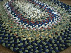 New ready To Ship Handmade Oval Denim Braided Rug / Rag Rug in blue and sage for your bathroom / kit Braided Wool Rug, Braided Area Rugs, Denim Rug, Small Accent Chairs, Recycled Fabric, Rugs On Carpet, Carpets, Rug Making, Handmade Rugs