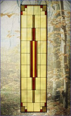 Arts and Crafts Tall Prairie Window Art Glass Panel 12 MGR012