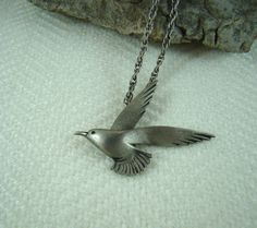 Creepy Necklace The Birds Seagull Nasty Pewter by BellesBeehive