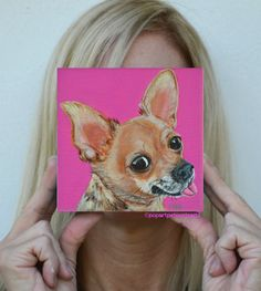 "Custom dog painting of ""lola"" the Chihuahua by PopArtPetPortraits, $70.00 ""like"" my www.facebook/popartpetportraits.com"