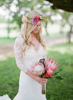 Tropical bridal bouquet from No Ka Oi Protea: