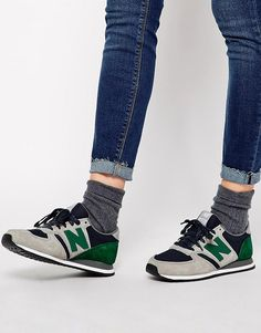 New+Balance+420+Suede/Mesh+Grey+and+Green+Trainers