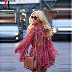 fe1df64d721 Women Summer Mulberry Silk Playsuits Long Sleeve Ruffles Silk Romper Sexy  Exposed Backless Floral Print Playsuit
