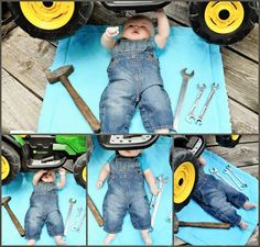 New Ideas For New Born Baby Photography : 5 month baby boy john deer tractor mechanic