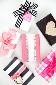 Cute and simple ways to wrap and gift your Valentine's Day presents! All it takes is some cute scrapbook paper, ribbon, and embellishments!