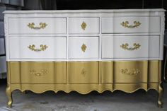 SOLD Gold Dipped French Provincial Dresser by HayleonVintage