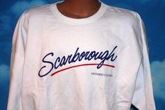 DEADSTOCK Scarborough Ontario White XL Pullover Sweatshirt Vintage 1990s by nodemo Scarborough Ontario, Ross Geller, Rust Color, Denim Shirt, 1990s, Sweatshirts, Pullover, Fitness, Cotton