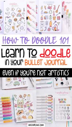 """We all want to make our planners pretty, and not just useful. A great way to do it is by adding cute doodles. Check this post where I explain how you can learn and improve your Bullet Journal doodles. Even if you never doodled before just follow my instructions and you'll be able to draw cute little doodles in no time. This post also has a """"How To Doodle"""" video to help you out of your learning journey. #mashaplans #bulletjournal #tutorial #doodles #bujoideas"""