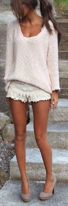 white lace short skirt, light pink sweater & adorable heels! i love her pretty outfit!