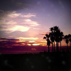 Sunset at Venice Beach, California.