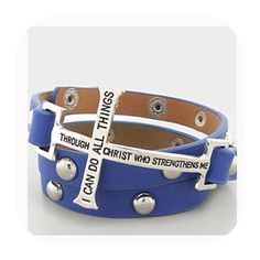 """Blue Cross Wrap Bracelet 23"""" bracelet length, 1.25"""" width cross design, leatherette, inscribed with """"I can do all things through Christ who strengthens me"""", wrap, snap closure. Jewelry Bracelets"""