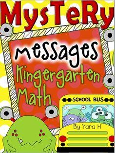 End of Year Mystery Monster Messages! Math Center Activities for K Beginning Of Kindergarten, Kindergarten Worksheets, Math Games, Math Activities, Teaching Math, Maths, Teaching Ideas, 1st Grade Math, Grade 1