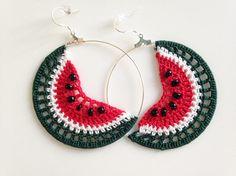 Crochet Watermelon Slices Cute Fruit Earrings, Tropical Beaded Hoop Earrings in Green and Red, Playful Summer Fruit Jewelry Crochet Earrings Pattern, Crochet Jewelry Patterns, Crochet Accessories, Diy Earrings, Earrings Handmade, Hoop Earrings, Cotton Crochet, Thread Crochet, Crochet Gifts