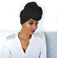 Beautiful Black Headwrap perfect for all occasions African Hair Wrap, African Head Wraps, Hair Wrap Scarf, Hair Scarf Styles, African Hairstyles, Scarf Hairstyles, Black Hairstyles, Mode Turban, Hair Up Or Down
