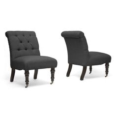 @Overstock - Add a contemporary look to your home decor with these versatile slipper chairs from Baxton Studio. A grey upholstery and black-stained legs highlight this durable and stylish set of chairs. http://www.overstock.com/Home-Garden/Baxton-Studio-Grey-Slipper-Chair-Set-of-2/7327145/product.html?CID=214117 $509.99