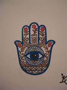 Collier cabochon verre pendentif main de  Fatma fatima Hamsa zen yoga relaxation
