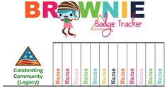 I& finally created a Brownie Tracker.and it& free! As a bonus, I& created three versions of the top graphic. So you can choose w. Daisy Girl Scouts, Girl Scout Troop, Boy Scouts, Girl Scout Brownie Badges, Brownie Girl Scouts, Brownies Activities, Troop Beverly Hills, Girl Scout Juniors, Brownie Points