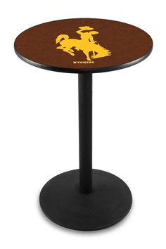 University of Wyoming Cowboys Pub Table With Black Base and Edge