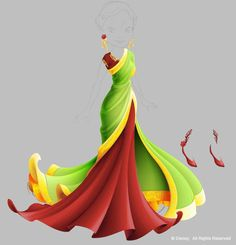 Pixie Hollow dresses in vector; sari.  This is one of the last I did and a favorite of mine