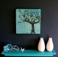 Modern String Art Wooden Tablet  Winter Oak on Cozumel by NineRed, $25.00