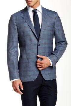 Ike Behar | Blue Plaid Two Button Notch Lapel Wool Sport Coat