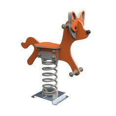 Fox playground springer toy in HDPE Modern Playground, Playground Design, Types Of Anchors, Poured Concrete, Galvanized Steel, T Rex, Amazing Gardens, Panda, Fairy Tales
