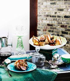 Roast quail with caramelised fig and sherry stuffing