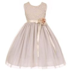 Little Girls Silver Lace Satin Sash Corsage Tulle Flower Girl Dress - deal dr. Cute Flower Girl Dresses, Girls Easter Dresses, Tulle Flower Girl, Tulle Flowers, Little Girl Dresses, Dress Girl, Diy Dress, Tulle Dress, Party Dress