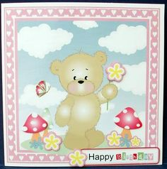 Teddy with Flower Birthday Get Well Card on Craftsuprint designed by Janet Roberts - made by Cheryl French - Printed onto glossy photo paper. Attached base image to card stock using ds tape. Built up image with 1mm foam pads. - Now available for download!