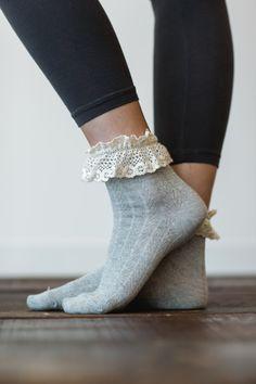 Gray Lace Ankle Socks, Boot Socks, Women's Short Socks, Cute Women's Socks, Stocking Stuffers for Girls (Grey) (BS-33)