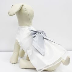 White Dog Dress, Silver Bow, Dog Birthday gift, Pet wedding accessory, dog clothing, Chic, classy, Silver and White dress