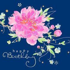 Happy Birthday - pink flower blue background