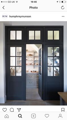 Pantry Room Entrance Door Yes Or No This Georgian Style Quot Joinery Wall Quot Of Dark Doors And Glass Separate The Pantry From The Kitchen But Creates A Very Elegant Feature Designed And Made By Humphrey Munson Pantry Room, Kitchen Pantry, New Kitchen, Kitchen Storage, Kitchen Ideas, Open Pantry, Kitchen Cabinetry, Pantry Lighting, Best Kitchen Design