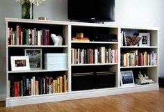 Turn 3 billy bookcases from into an entertainment stand in the living room check ikea bookcase . Decor, Ikea, Bookcase, Home, Bookshelves With Tv, Entertaining Decor, Bookshelves Diy, Ikea Billy Hack, Room