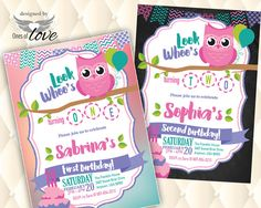 Owl Birthday Invitation Girl First Birthday By LibbyKateSmiles - 1st birthday invitations girl owl