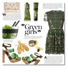 """""""~ Green girls ~"""" by dolly-valkyrie ❤ liked on Polyvore featuring H&M, Aesop, Valentino, Bodum, Skinnydip, Green Girls, Kate Spade, Chaumet and BaubleBar"""