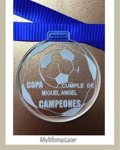 """""""Medallas de Futbol Campeonato """"Cumpleaños de Miguel"""". Medallas personalizadas para cualquier evento o competencia www.multiformaslaser.com"""""""