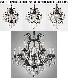 "Set Of 4 - Wrought Iron Chandelier Lighting H30"" X W28"" And Wrought Iron Crystal Chandeliers H14"" W11"" - 1Ea-3034/8+4 + 3Ea-592/1"