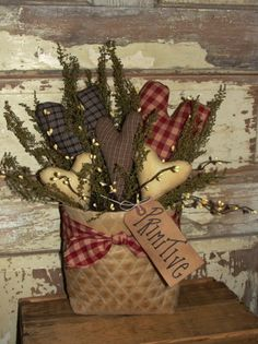 Grungy Quilted Tea-stained Pouch With Hearts... Burgundy/Blue