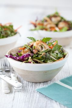 Thai Green Salad with Shrimp and Spicy Almond Dressing // Danielle Walker