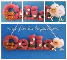 Baby name felt sheep - Nombre bebe con ovejita en fieltro