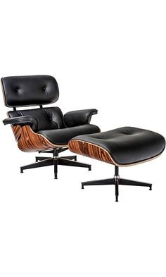 Poly and Bark Eames Style Lounge Chair and Ottoman in Italian Leather Single Rosewood  sc 1 st  Pinterest & Olivia Bonded Leather Swivel Recliner Chair with Ottoman ... islam-shia.org