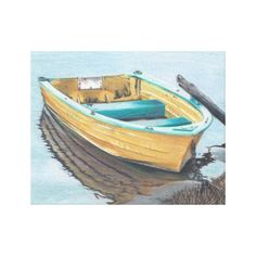 award winning Color Pencil Drawing of Yellow Boat Canvas Print by Jenny Luan #yellowboat #colorpencil
