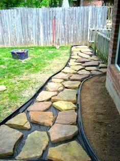 Instructions to make a rock walkway in backyard front yard walkway, front walkway landscaping, Rock Walkway, Stepping Stone Pathway, Flagstone Pathway, Backyard Walkway, Small Front Yard Landscaping, Landscaping With Rocks, Backyard Landscaping, Landscaping Ideas, Walkway Ideas
