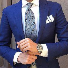 Danielre Zaccone Instagram Ties Paisley Blue Necktie and White Cotton Edge Blue Pocket Square | OTAA