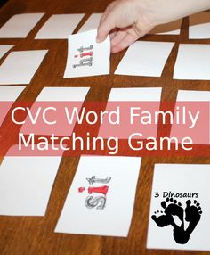 CVC Rhyming Word Matching Game - hands on learing of CVC word family words - 3Dinosaurs.com