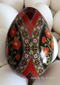 Scarlet Posies Pysanka Pysanky Ukrainian Easter Egg Batik Art by So Jeo