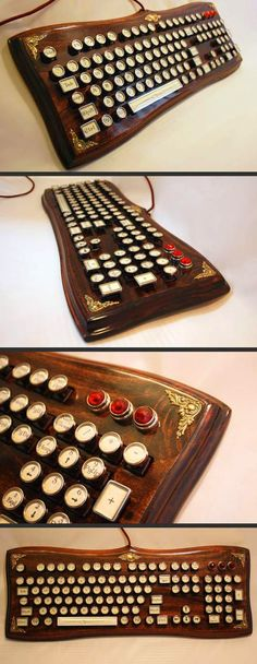 Elegant Wooden Steampunk Keyboard // 10 Unique & Cool Computer Keyboards That Will Inspire Your Working Life Forever http://amzn.to/2rsuGjX