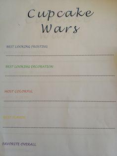cupcake wars judging sheets - Google Search