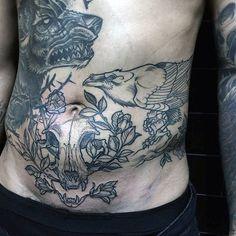 Old School Guys Crow Stomach Tattoos